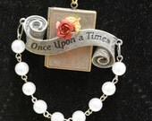 Once upon a time necklace book locket red rose pearl bead loop 24 in chain add your own photos