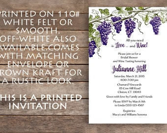 Wine Theme Bridal Shower, Vineyard Bridal Shower Invitation, Brown Kraft, Vineyard, Grapes, Wine Tasting
