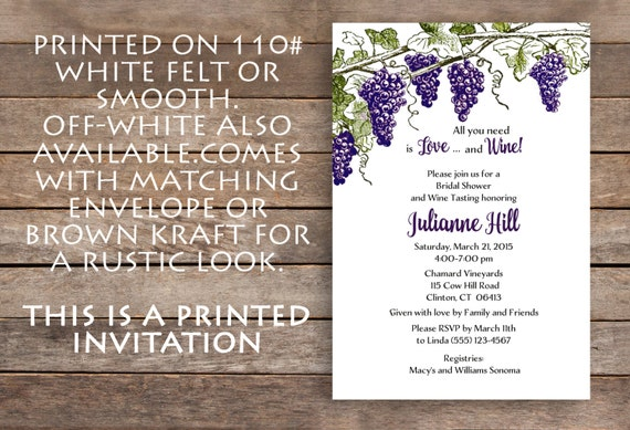 wine theme bridal shower vineyard bridal shower invitation brown kraft vineyard grapes