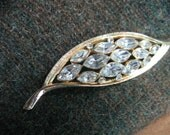 Lovely Kramer Brooch with Marquise Shaped Rhinestones, Graceful Leaf Shape Perfect for Blazer or