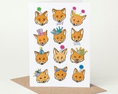 Fox Birthday Card (fox birthday card, fox celebration card, fox congratulations card, fox good luck card, funny card, fox illustration)