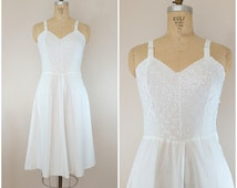 Vintage 1950s White Cotton Slip / Sundress / Full Slip / Cotton Day Dress / Small