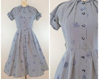 Vintage 1950s Dress / Navy Blue and White Checked / Full Skirt / Shirtwaist / Small Medium