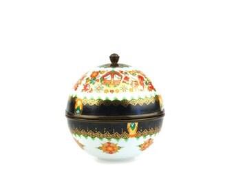 Vintage Steinböck-Email Globe Shaped Handmade Enameled and Gilded Lidded Trinket Box.. made in Austria..