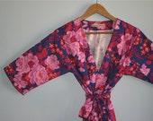 Kimono Robe. Kimono. Dressing Gown. Navy Orchid Floral Kimono Robe. Bridesmaid Robes. Knee and Mid Calf Length. Small thru Plus Size 2XL.