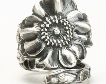 Sterling Silver Rose Spoon Ring in 925, Statement Piece for Mom, Wild Rose Flower Jewelry with an Adjustable Ring Size, Manchester (5900)