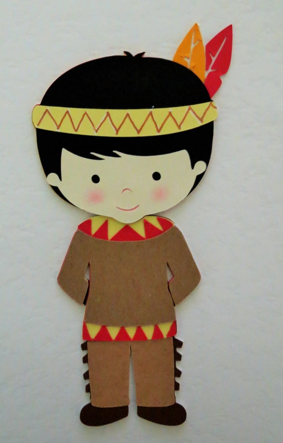 Thanksgiving Native American Indian Boy And Girl Paper Die