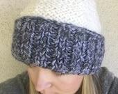 Wide Brim chunky knit beanie - ELSA - colorblocked handknit winter wool blend cap