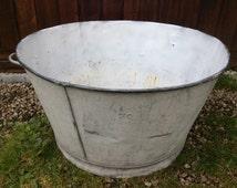 Vintage French extra large galvanized galvanised tub bucket circa 1930/40's / English Shop
