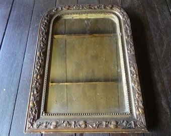Antique French Ornate Wall Mirror Lilies With Wood And Metal Surround Circa 1800-1900's / English Shop