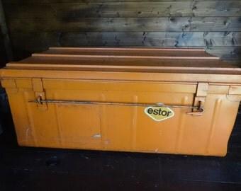 Vintage French large metal orange lockable cabinet box storage chest tools luggage circa 1970's / English Shop