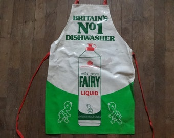 Vintage English Cotton Coated PVC Fairy Washing Up Liquid Apron Cooking Kitchen Collectable circa 1970-80's / English Shop