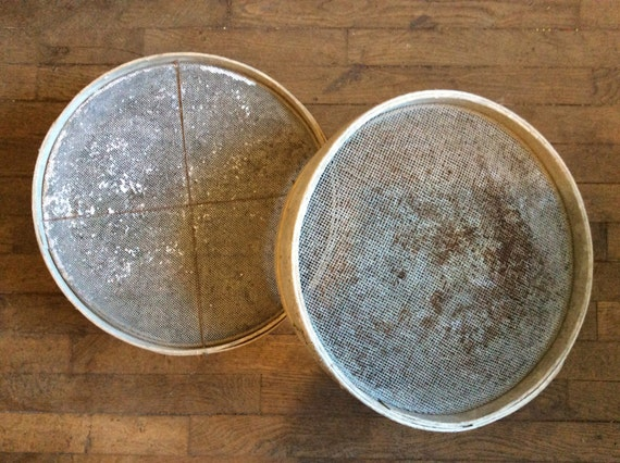 Vintage French large flour sieves baker mill baking farm