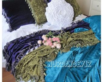 Bed scarf -Shabby chic velvet bedding-luxury velvet fringe throw blanket - cozy decorative bed throws - bedspread, coverlet bed runner cover