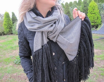 Flannel-houndstooth-plaid blanket scarf-black white plaid scarf/ long-wool-fringe-shawl-woman-man winter fashion-men's scarves-gifts for her