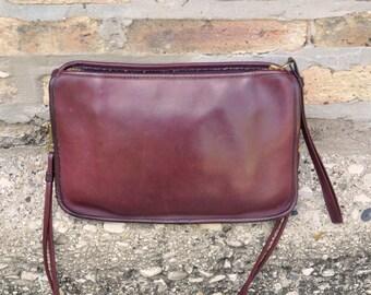 Burgundy Leather Vintage Basic Coach Shoulder Bag Clutch Wristlet