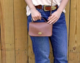 Vintage Mini Cognac Coach Shoulder Bag