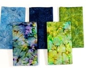 Batik Fabric Bundle 5 Fat Quarters Blue and Green Colors Quilting Weight
