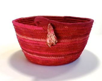 RESERVED - Coiled Rope Basket Clothesline - Hand Dyed Rich Reds - Upcycled Planter - Fiber Art Organizer - Sophsticated Holiday Decor
