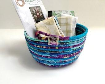 Handmade Clothesline Basket   Hand Coiled Rope  Modern Batik Fabric Bowl   Aqua and Purple Organizer - Fiber Art Decor - Upcycled Planter