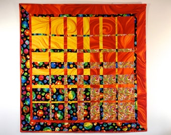 Modern Art Quilt , Textile Art, Quilted Fabric Wall Hanging, Vibrant Orange, Gold, Black,  Office Decor, Convergence Fiber Art , Sally Manke