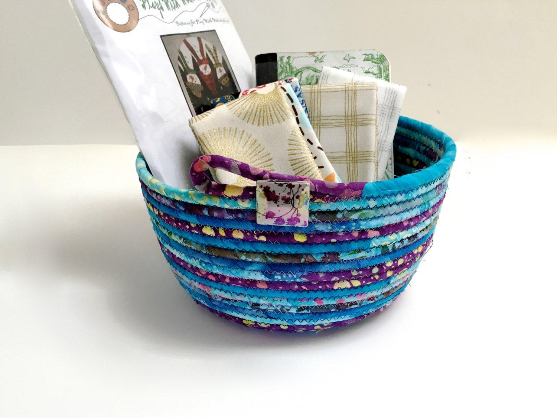 Handmade Rope Basket : Handmade clothesline basket hand coiled rope modern batik