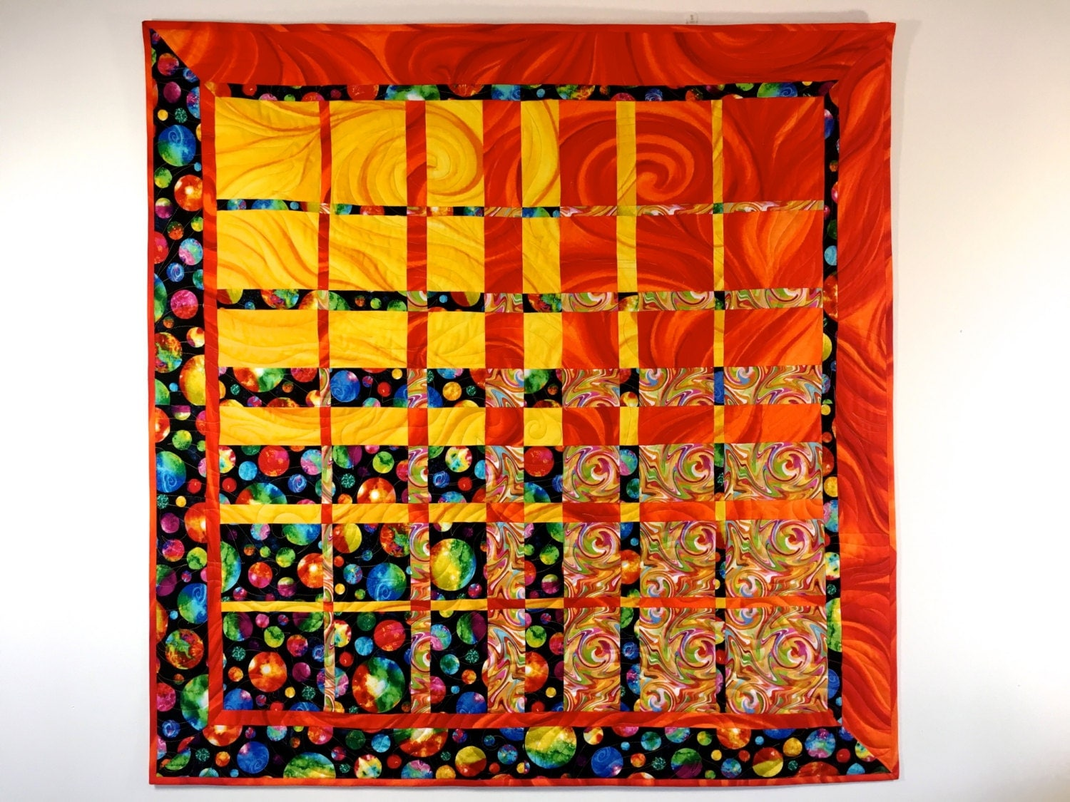 Modern art quilt textile art quilted fabric wall hanging for Fabric wall art