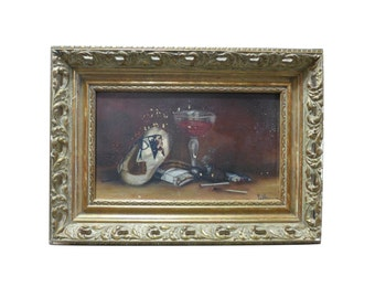 Gentleman's Still Life Oil Painting w/ Tobacco & Porto