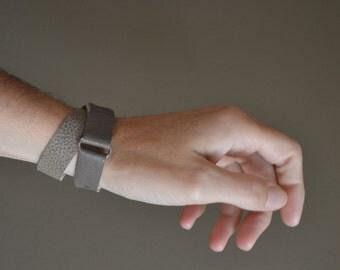 grey genuine leather bracelet wrap around - boho hippie gypsy festival bracelet - grey tones wrap leather bracelet - gift for her