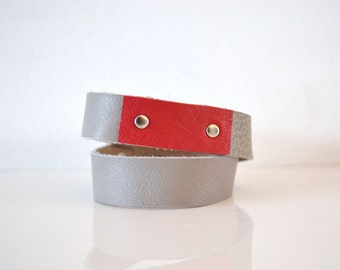boho wrap leather bracelet red and grey - red and grey festival wrap bracelet - red and grey leather wrist cuff - gift for her