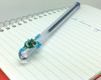 Forest Green Frog with Blue Legs on a Lavender Purple Glass Writing Pen- FREE Gift Box- Blue Ink Pen