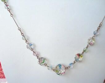 Art Deco Necklace Iris or Rainbow Glass Beads 1920's 1930's