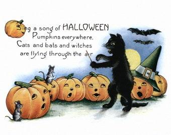 Halloween Card | Black Cat Conducts Jack O' Lantern Chorus with Bats and Mice Full Moon