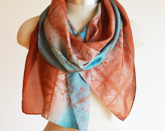 copper and turquoise silk scarf, hand printed, hand painted, southwestern style, santa fe colors