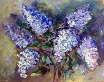 """Summer Lilacs flowers original floral painting on canvas 11 x 14"""""""