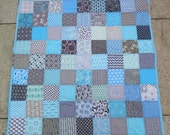 Unisex baby quilt in baby blue and grey, pale blue and gray, baby shower present, baby birthday present, Christmas present READY TO SHIP