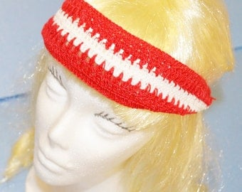 Red & White Head Band, Crochet, Adjustable, 100% Cotton,  Made in the U S A
