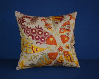 "Designer's modern pattern silk fish-flowers suzani Pillow Cover 16""X16"" inch"