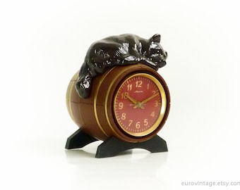 Vintage Rare Clock / Desk Table Clock / Mantle Clock / Bear on Barrel 70s