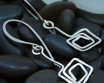 Freeform Square Spiral Earrings - Sterling Silver - Handmade