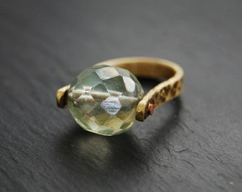 Ring, Chrysolite Green, Brass, Copper, Riveted Ring, Size 6.5