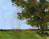 Original tree farmland fall painting - Autumn oak and empty fields