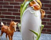 mid Century hand painted ceramic tulip vase