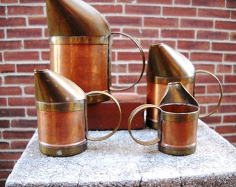 Set of 4 Copper and Brass Pitchers Hand Forged, european Planters, decor, vase