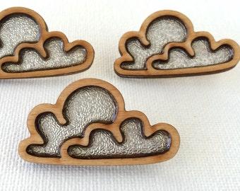 Silver Lining Cloud laser cut wooden brooch #makeforgood