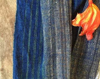 Indigo Handwoven cotton shawl scarf with multicolor stripes