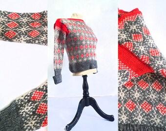 vintage scandanvian star knit sweater. size xxsmall xsmall