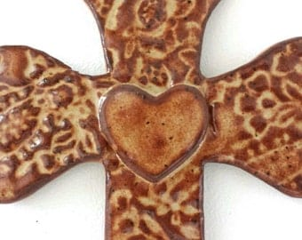 Ceramic Wall Cross Brown with Lace Texture and Heart Large