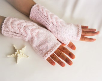 Light Pink Fingerless Gloves, Wool Mittens, Women Arm Warmers with cable pattern, Handmade, Handknitted, Eco Friendly