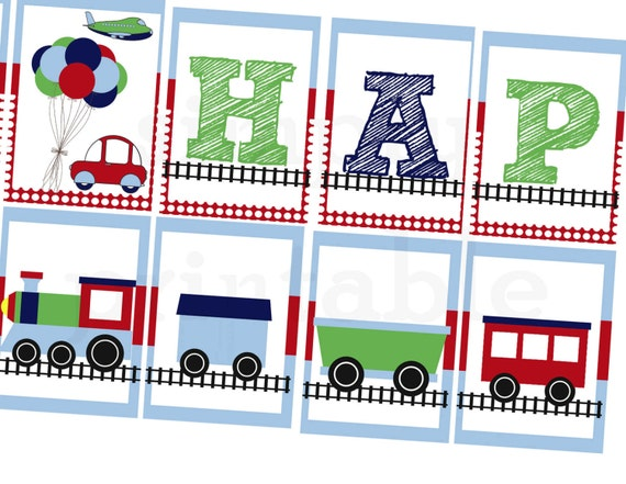 Printable Birthday Banner, Trains, Planes, Car Digital Printable Banner